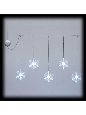Tendina con 5 cristalli di neve a batteria - 60 x h 40 cm - luce fissa - bianco classic