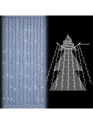 Decorazione tenda per alberi di natale 180 led flashled diamond bianco ghiaccio vetrina