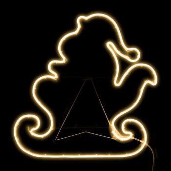 Slitta con Babbo Natale 76 x h 74 cm SMD neon bifacciale 480 led - bianco classic