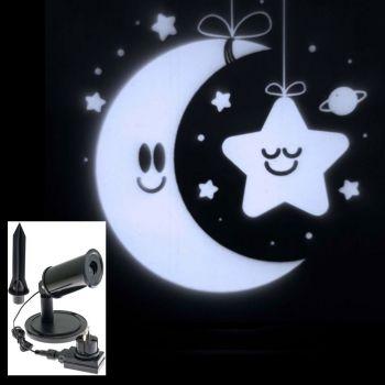 Proiettore a led stella con luna - bianco freddo