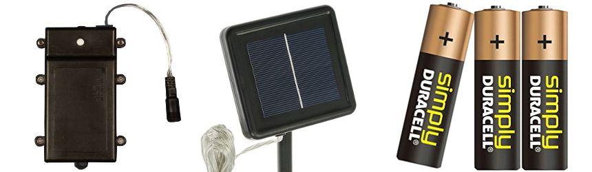 Accessori per luci a led che funzionano a batteria o ad energia solare
